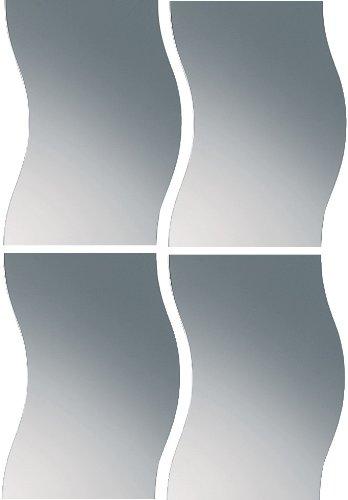 dreiBaum Spiegelkachel-Set Welle aus Echtglas 29 x 37 cm - 4-teilig
