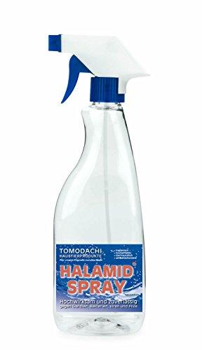Giardien, Katze, Halamid Desinfektion, 10g Halamid für 2 prozentige, sprühfertige 500ml Desinfektionslösung zur Giardienbekämpfung. Mit Leitungswasser auffüllen, vor Gebrauch schütteln, desinfizieren.