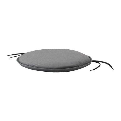 Unbekannt IKEA Stuhlkissen BENÖ beidseitig nutzbares Sitzkissen mit Halte-Bändern - Ø 35cm - GRAU - maschinenwaschbar