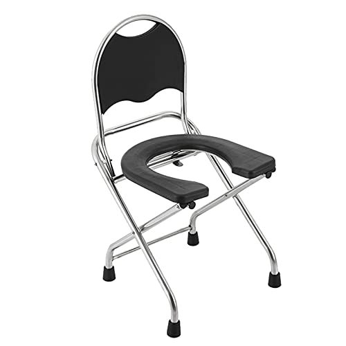 FGDSA Commode Chair Folding, Adult U-Shaped Toilet Seat, Safety Stainless Steel Non-Slip Shower Chair, Portable Squatting Pan - 150kg (330lb)