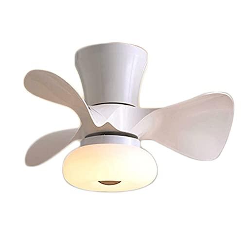 Los Ventiladores De Techo Iluminación Regulable LED, Velocidad Viento Intensidad Regulable Con Mando A Distancia,Luz Del Ventilador Tranquila Luz Lámpara Colgante Dormitorio Lámpara Techo,Blan