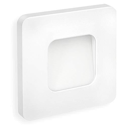 SSC-LUXon® LED Wandeinbauleuchte DEVA weiß quadratisch - Treppen & Stufenleuchte 230V (1W, IP20, warmweiß) für Ø 60 mm Dosen