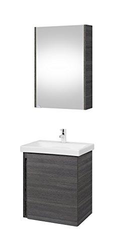 Planetmöbel Waschtischunterschrank mit Spiegelschrank 50cm Badmöbel Set für Badezimmer WC (Anthrazit)