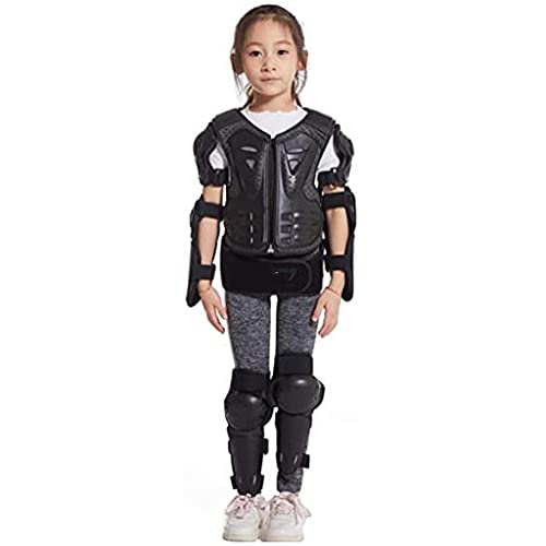 DXMGZ Protector de Cuerpo Completo para Niños, Motocicleta Juvenil, Ciclismo, Esquí, Motocicleta, Montar en Bicicleta, Chaleco, Chaqueta, Protectores de Rodilla