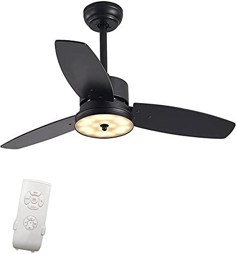 MAMINGBO Ventilador de techo interior LED de 40 pulgadas Ventilador de techo negro de 40 pulgadas, ventilador de techo de fachada de perfil bajo industrial con luz y control remoto, 3 cuchillas de mad