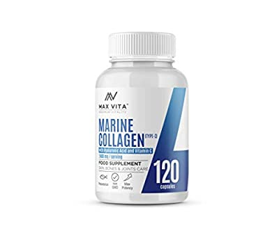 Marine Collagen Type 1 2400mg - 120 Capsules Supplement with Hyaluronic Acid and Vitamin C - High Strength Premium Hydrolysed Collagen Peptides Powder for Healthy Skin Bones & Joints Support