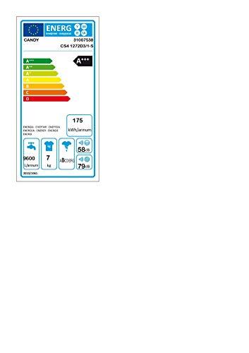 Candy CS4 1272D3/1-S, Lavatrice Slim (Classe A+++, Profondità 40 cm), Bianco