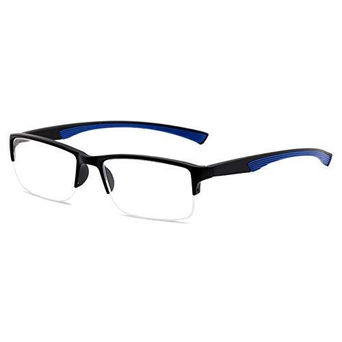 VEVESMUNDO Lesebrille Klassische Halbbrille Rechteckig Große Gläser Stylisch Modisch Breit Lesehilfe Sehhilfe Brille mit Sehstärke für Herren Damen (1 Stück Dunkelblau, 2.5)