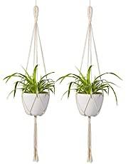 [Upgraded] ecofynd Macrame Cotton Boho Plant Hanger [Without Pot] | Rope Flower Pot Holder for Indoor Outdoor Balcony Gardening (M2, Pack of 2, 39 inches)