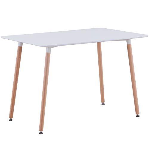 BenyLed Tavolo da Cucina Moderno Rettangolare con Gambe in Legno di Faggio, Tavolino da Tavolo in...