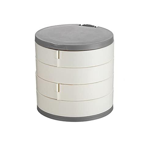 JTKJ Caja de almacenamiento giratoria de múltiples capas para joyas, caja de almacenamiento para pendientes, es eficaz a prueba de polvo y compacto y fácil de llevar, color blanco