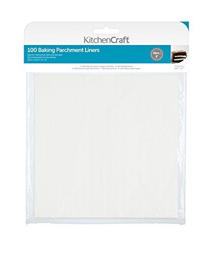 KitchenCraft Fettdichtes Antihaft Backpapier, 20 cm (8 Zoll) quadratisch (Packung à 100 Stück), Papier, White, cm, 20 x 20 x 0.1 cm, 1 Einheiten