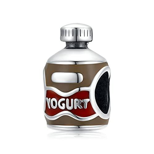 HMMJ Abalorio Colgante de Plata esterlina S925 para Mujer, Colgante de Botella de Yogur Hecho a Mano para Pandora Chamilia y Pulseras y Collares Europeos