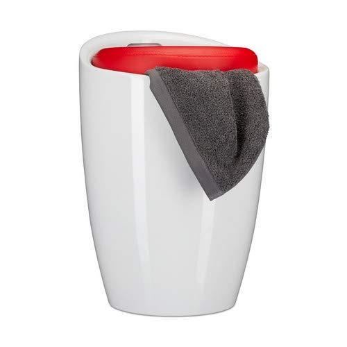 Relaxdays Badkruk tweekleurig, rond, kunststof, afneembaar zitkussen, 28 l opbergruimte, wasmand, draaggreep, rood