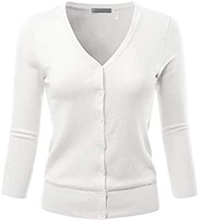 EIMIN Women's 3/4 Sleeve V-Neck Button Down Stretch Knit Cardigan Sweater (S-3X)