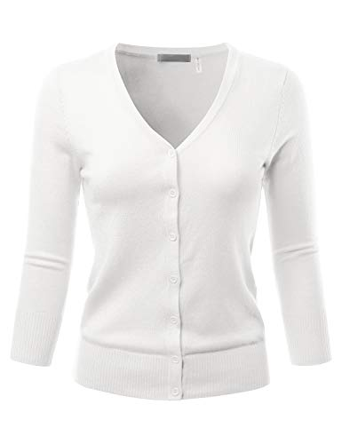 EIMIN Women's 3/4 Sleeve V-Neck Button Down Stretch Knit Cardigan Sweater White L