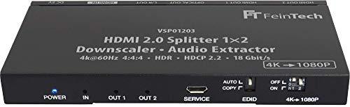 FeinTech VSP01203 Splitter 1x2 HDMI 2.0 con Audio Extractor Toslink Down-Scaler 4K 60Hz HDR