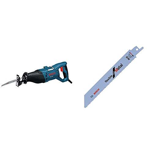 Bosch Professional GSA 1100 E - Sierra sable, 1100 W, profundidad corte 23 cm, en maletín + Bosch 2 608 656 014 Pack de 5 hojas de sierra sable S 922 BF (bimetálica), Set de 5 Piezas
