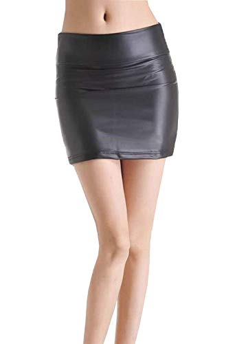 ADELINA Vrouwen Zomer Onder Lederen Dames Schoen Patent Warm Pakket Lederen Modieuze Rok Mini Rok Rok Rok in Leer Kijk Nat Kijk Zwart Mode Slim Fit Korte Rokken