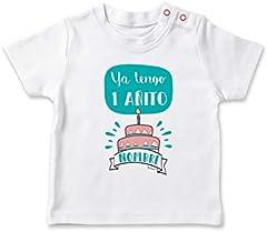 SUPERMOLON Camiseta bebé Ya tengo un añito Blanco 1-2 años