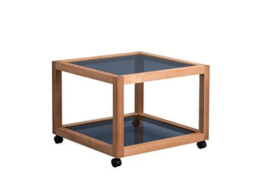 HomeTrends4You Manila 2 Couchtisch/Beistelltisch, Echtholz Walnuss geölt, braun, 60x60cm, Höhe 45cm