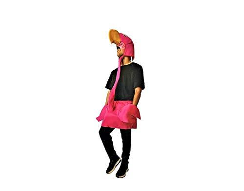 Disfraz de Flamenco. Compuesto de mono negro completo (de manga corta) y falda unida al cuello y a la cabeza del animal. Talla única de adulto.