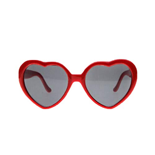 Luoem Gafas de efectos especiales de corazón de pesca, gafas interesantes, gafas de difracción de luz para mujeres rojo Talla única
