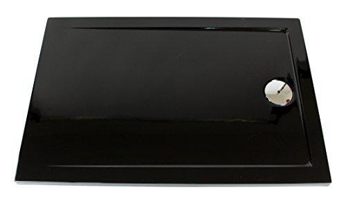 Superflache Duschwanne Duschtasse schwarz 80 x 100 cm Komplettes Set kratz und rutschfest glatt Hochglanz Höhe 3,5 cm inkl. Ablaufgarnitur von Art-of-Baan®