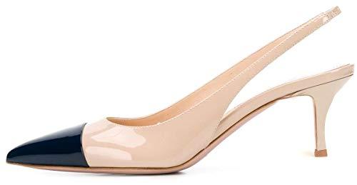 elashe Scarpe da Donna - Pointed Toe Slingback Sandali - 2.6' Tacco Gattino con Cinturino Caviglia Fibbia Nero EU41