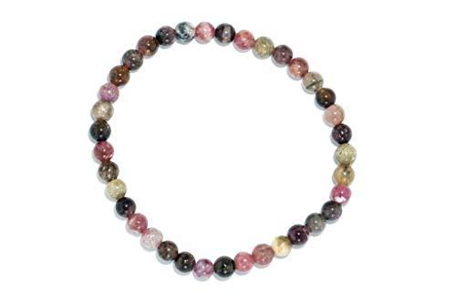 Taddart Minerals – Pulsera colorida de la piedra preciosa natural sandía turmalina con bolas de 4...