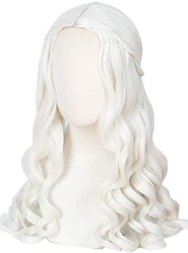Mujeres Blanco Blonde Blanco Larga Lamera ondulada Halloween Cosplay Costume Reina WIG adulto chenghuax