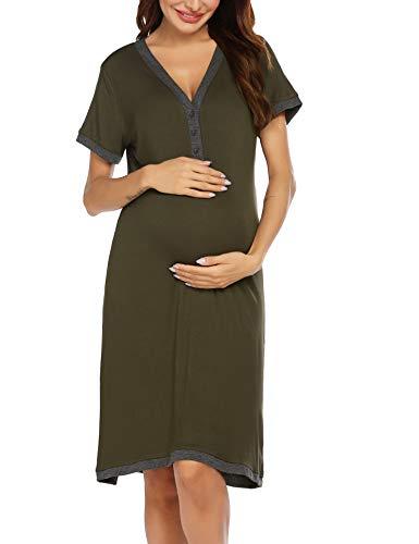 Ekouaer Women's Nursing Nightgown Maternity Dress Short Sleeve Breastfeeding Sleep Dress Delivery Nightwear S-XXL