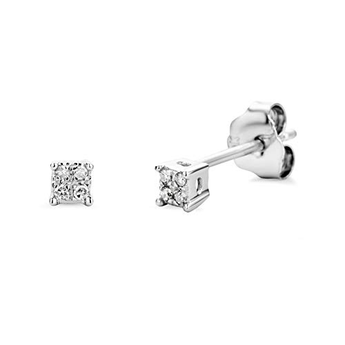 Miore 9 kt (375) White Gold with Diamonds (0.03ct) Stud Earrings for Women, 3mm