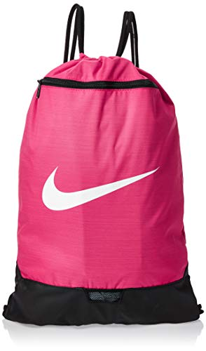 Nike Brasilia Training Gymsack, Drawstring Backpack with Zipper Pocket and Reinforced Bottom, Rush Pink/Rush Pink/White
