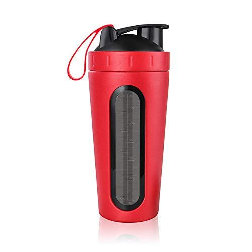 yylikehome 28 Unzen Edelstahlflasche mit Schneebesen Whey Protein Wasserflasche Leakproof Gym Mixer Sport mit Window Red