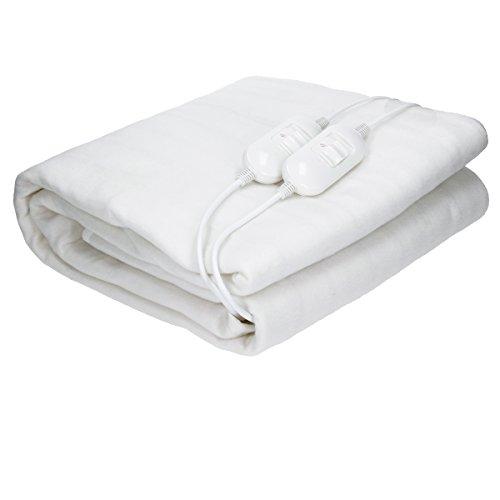 ECD Germany XXL Wärmeunterbett mit Überhitzungsschutz 180 x 152 cm - aus Polyester - Weiß - 2 Heizstufen - 2 x 60 Watt 230 V - atmungsfähig - Doppelte Elektrische Heizdecke Wärmedecke Unterdecke Decke