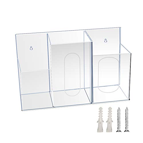 TZUTOGETHER Acrylic Hygiene Station, 3 Compartment Respiratory Hygiene Station with Wall Mounting Holes