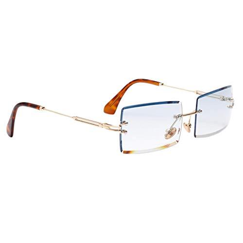 Harilla Vintage Rectangle Cut Randlose Sonnenbrille Designer Getönte Gläser Brillen - Blau, Onesize
