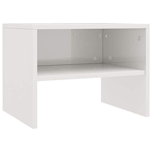 vidaXL - Mesita de noche con compartimento abierto, mesa auxiliar, mesa de teléfono, mesa de noche, mesa de noche, color blanco brillante, 40 x 30 x 30 cm, tablero aglomerado