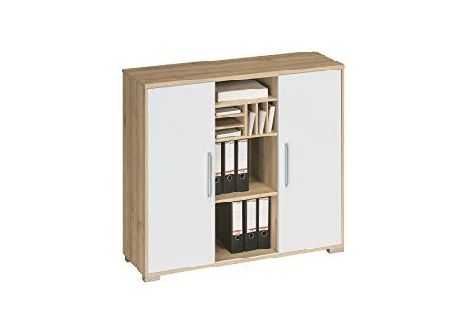 lisel-de Aktenregal Büroschrank Maja System Sideboard in Sonoma Eiche - Weiß Hochglanz 121,1x109,7x40cm