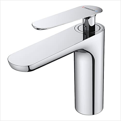 WOOHSE Waschtischarmaturaus Messing Chrom, Wasserhahn Bad mit Kaltes und Heißes Wasser, Einhebelmischer Waschbecken Armatur, Mischbatterie für Badezimmer Waschtisch