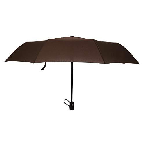 IPOTCH Schirm Regenschirm Sturmfest Unisex Kompaktschirme Auf-Zu Automatik Drei Falten Regenschirm Taschenregenschirm für Regen - Kaffee