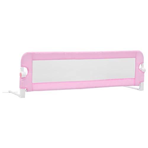 vidaXL Barandilla de seguridad cama de niño poliéster rosa 120x42 cm
