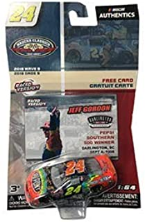 NASCAR Authentics Jeff Gordon #24 Diecast Car 1/64 Scale - 2018 Wave 9 with Collector Card - NASCAR Classics - Collectible