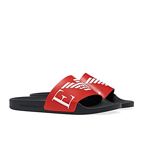 Emporio Armani Swimwear Slipper Monogram, Sandalia Slide para Hombre, Red+White+Marine, 39 EU