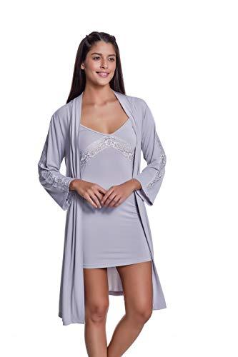 Luisa Moretti - Damen Nachthemd mit Morgenmantel aus Bambusfaser Bamboo Nachtkleid Silber Small