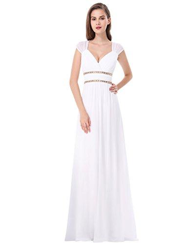 Ever-Pretty Damen Abendkleid A-Linie V Ausschnitt Cocktailkleid rückenfrei lang Weiß 40