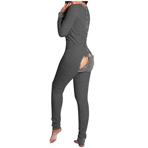 Dasongff Jumpsuit Damen Einteiler Pyjama Langarm Schlafanzug Mädchen Butt Button Back Flap Jumpsuit Onesie Overall Einteiler Trainingsanzug Hausanzug Bodycon Strampler Funktionale Overall