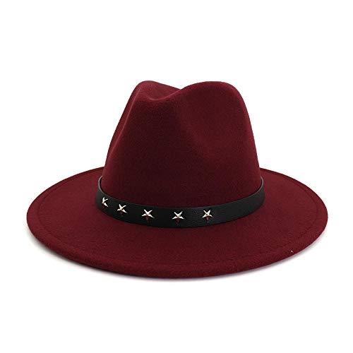 Grote rand hoed mode jazz hoed Britse kunst meloen One size 56-58cm rode wijn