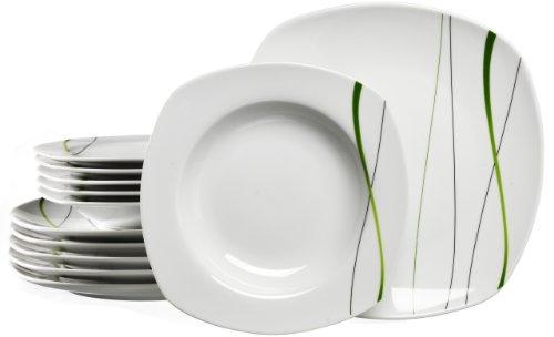 Ritzenhoff & Breker 596489 - Vajilla (12 Piezas), Color Blanco y Verde